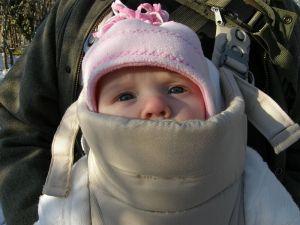 Scarlett in her baby carrier