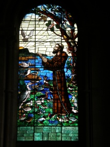The St Francis of Assisi window in St Mary's Church, Woburn